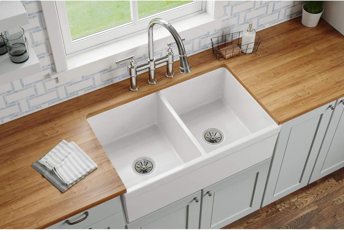 Elkay Swuf32189wh Fireclay Equal Double Bowl Farmhouse Sink White Double Bowl Sinks Amazon Com