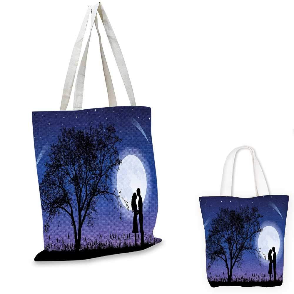 森の中の夜静かな夜 フルムーン トールツリーとフクロウ ブランチ 静かな風景 ブラック ブルー ホワイト 14