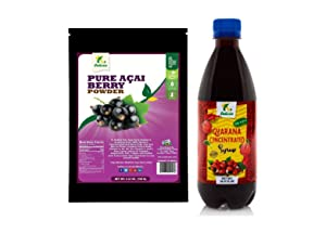 K DELICIA Pure Acai Berry Powder and Guarana Super Concentrated Syrup Pack - Make Acai Smoothies and Bowls with Guarana