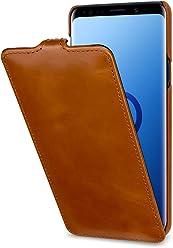 StilGut Housse pour Samsung Galaxy S9 Plus en Cuir élégant et à Ouverture Verticale clipsée, Cognac
