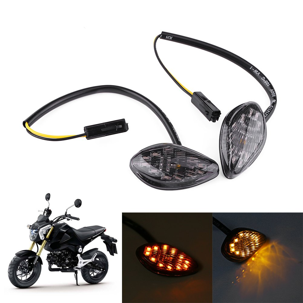 1 Pair Motorcycle Amber LED Turn Signals Light Kit, Eye Shape Flush Front Rear Turn Signal Light Assembly for Honda Grom 2014-2016 Keenso