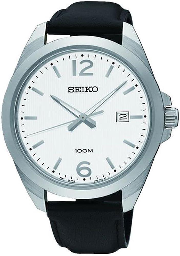 Seiko Men s 42mm Black Leather Band Steel Case Hardlex Crystal Quartz White Dial Analog Watch SUR213