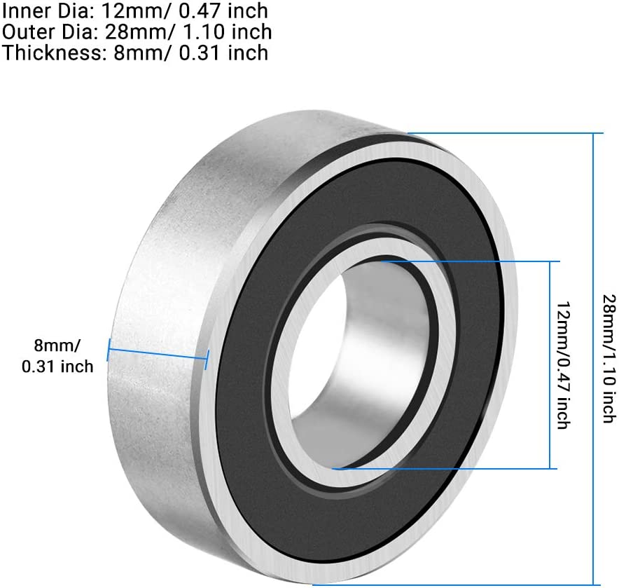 ANGGREK Cuscinetti a Sfera Gola Profonda 6001-2RS Metallo Cuscinetti Sigillati
