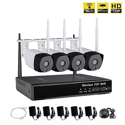 IMATEK Kit de cámara de vigilancia inalámbrica 4CH 720P HD NVR,c / 4 cámaras