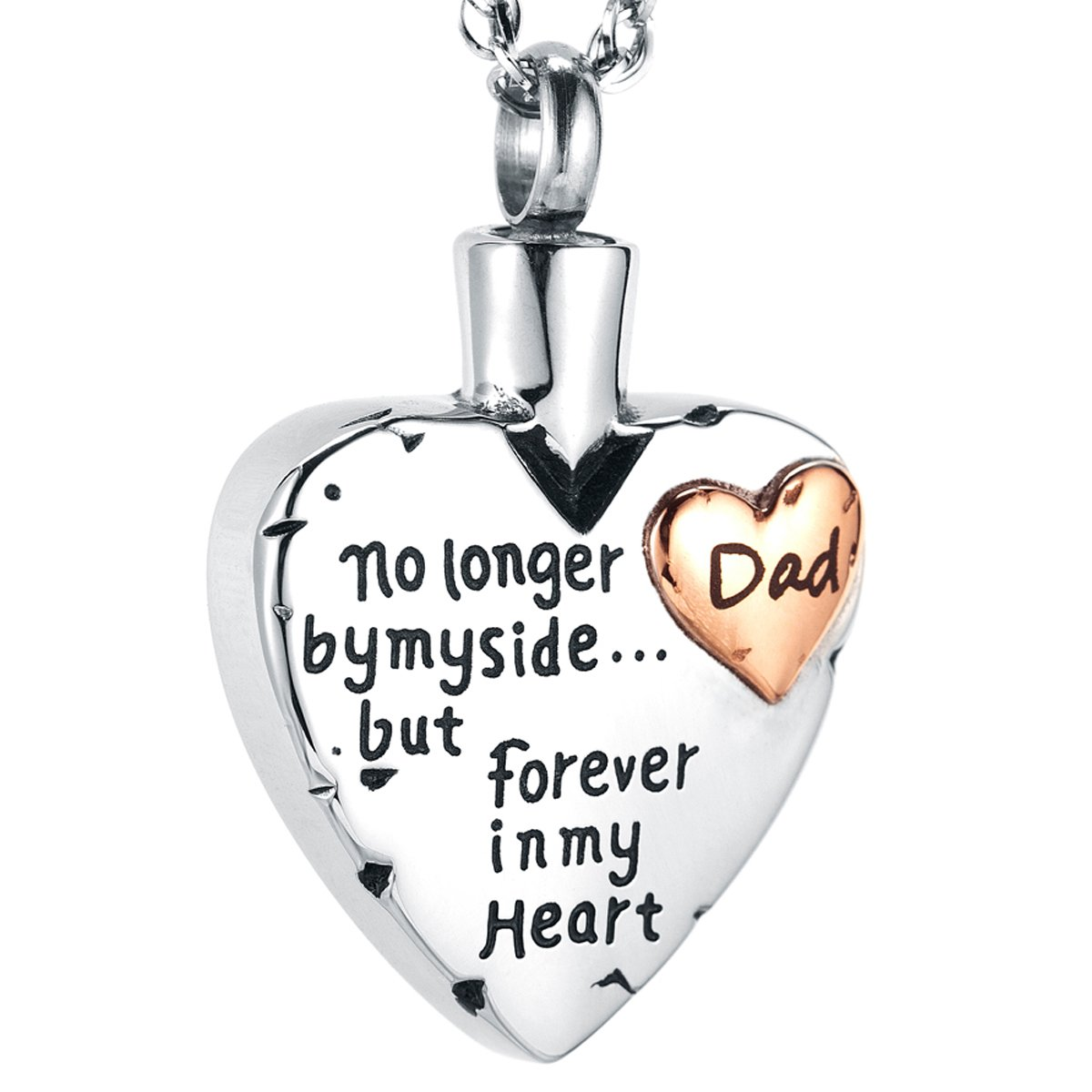 IMEIM Heart Cremation Urn Commemorative Necklace Ashes Screw Locket Stainless Steel Solid Meaningful Pendant Store Love Closed to My Heart Be Together Forever (Dad)