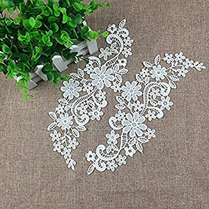 Pixnor Par de bordado escote hueco Collar flor del cordón costura de apliques adorno blanco: Amazon.es: Bricolaje y herramientas