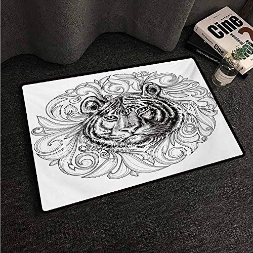 - Large Floor Mats for Living Room Colorful Tiger,Black and White Abstract Design Large Feline Head Sticking Out from Bundle of Leaves,Black White,W30 xL39 Rugs for Outside