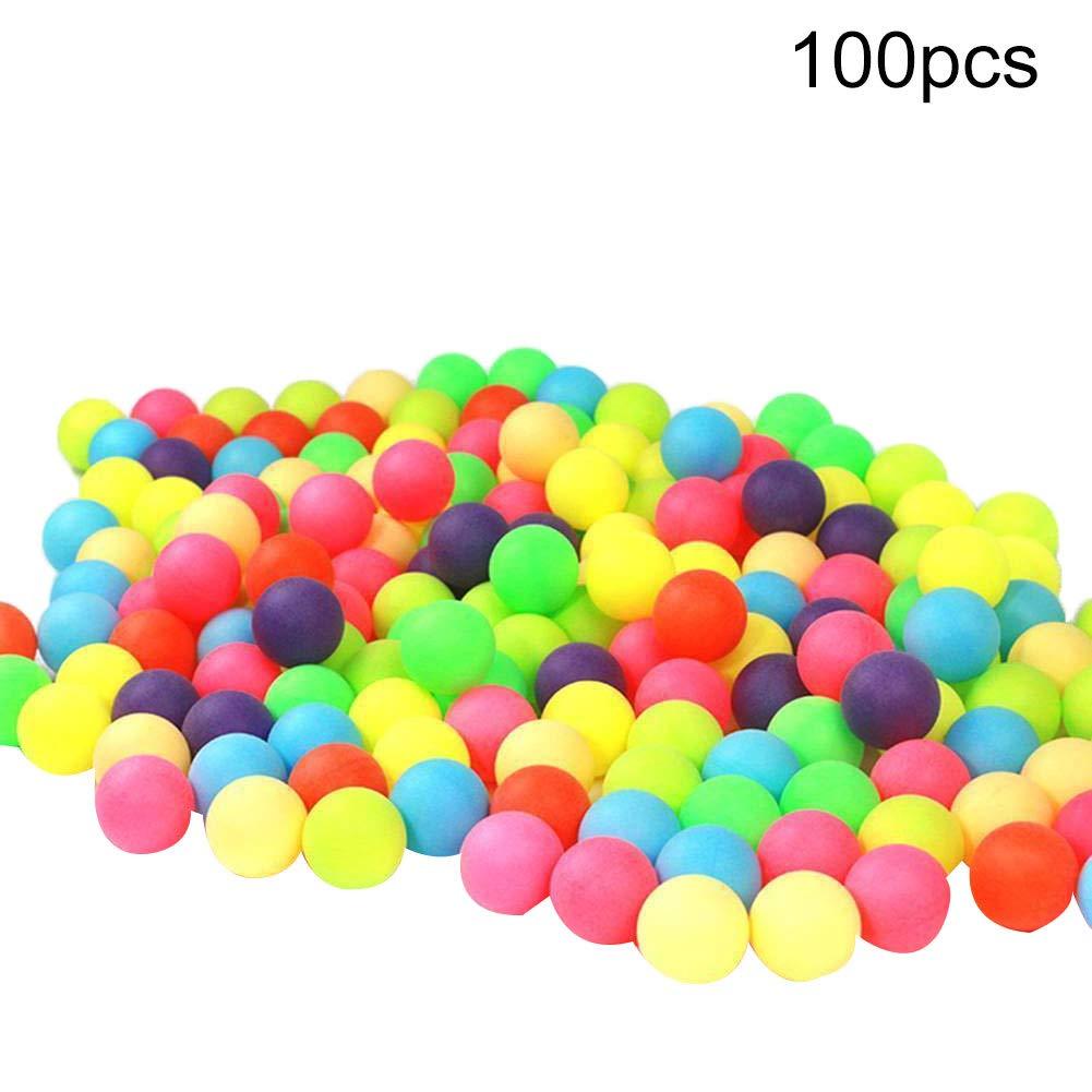 hefeibiaoduanjia 100 Pelotas de Ping Pong de Colores para Entretenimiento Pelotas de Ping Pong de Colores 100 Unidades Random Color Polipropileno Colores Mezclados para Juego Mesa de Ping Pong