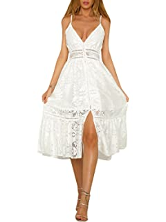 a30458cc5ed Simplee Apparel Women s Summer Party Sexy Deep V Neck Backless Lace Dress  White