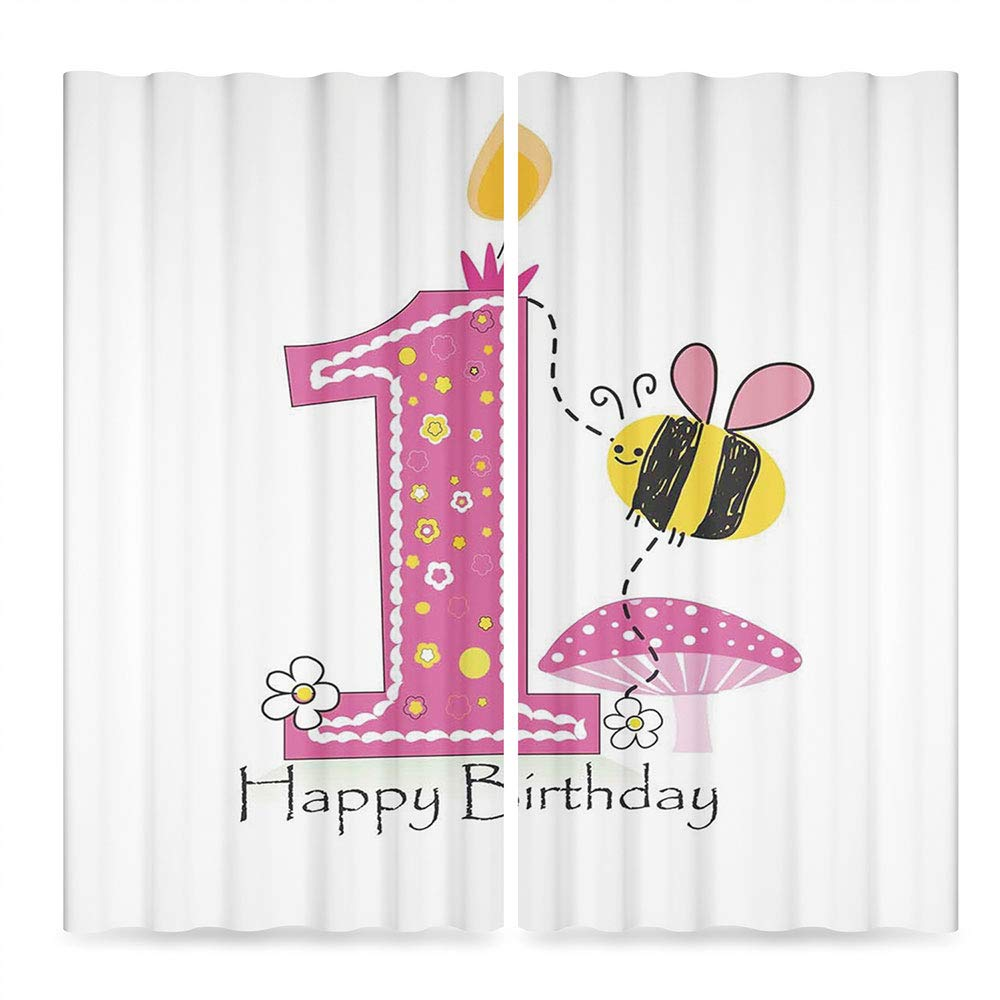 MOOCOM 1st Birthday Decorations Decor Collection,Cartoon Like Image with Bees Party Cake Candle Print,for Bedroom Living Dining Room Kids Youth Room, 2 Panel Set, 86W X 70L Inches
