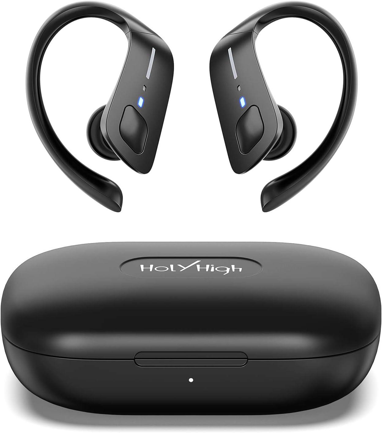 HolyHigh Auriculares Inalambricos Deportes Auriculares Bluetooth 5.0 Deportivos IPX7 Impermeable 30H Autonomia Auriculares Inalámbricos Bluetooth con Caja de Carga Micro Running para iOS Android