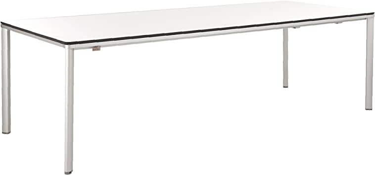 GARPA Portland Aluminio Mesa extensible 240-300 x 100 Resina Blanco: Amazon.es: Jardín