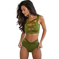 TININNA Donne Criss Cross Fasciatura a vita alta Bikini Swimwear 2 Pezzi Sexy Push-up Bandage Swimwear Set Swimsuit
