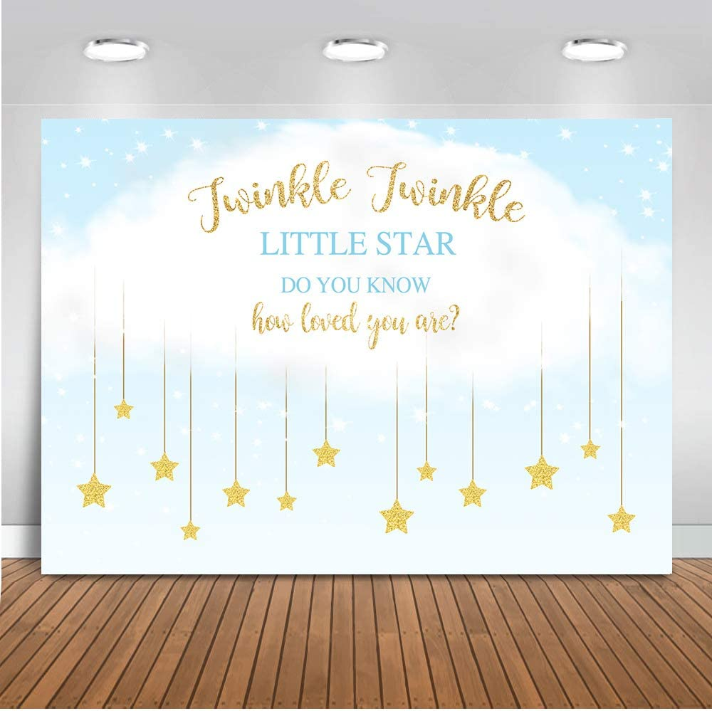 Mocsicka Gender Reveal Photo Backdrop 7x5ft Vinyl Twinkle Twinkle Little Star Baby Shower Backdrops Newborn Baby,Infant Happy Birthday Photography Background