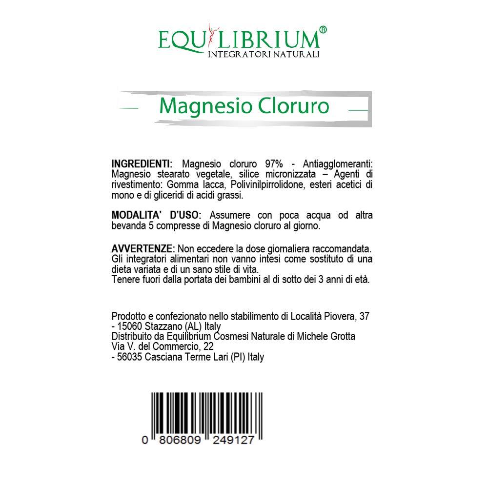 EQUILIBRIUM - INTEGRATORI NATURALI Cloruro de magnesio 100 tabletas recubiertas con 500 mg: Amazon.es: Salud y cuidado personal