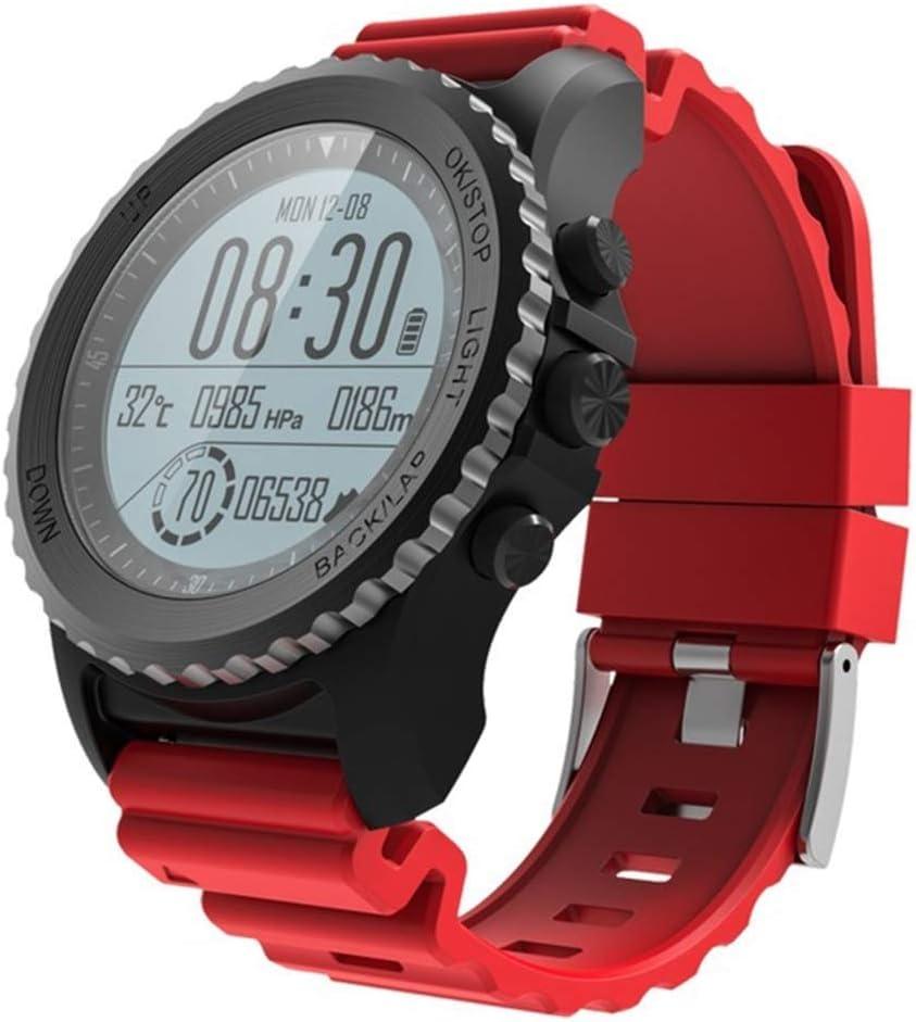 HWZLTHL Pulsera Inteligente GPS Presión Alta Frecuencia cardíaca Buceo Natación Reloj Profesional IP68 Funcionamiento a Prueba de Agua (Color : Red)