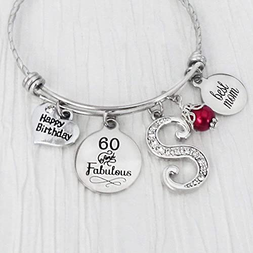 Birthday Gifts For Mom From Daughter 60 And Fabulous Bangle Bracelet Or 50th Jewelry Happy Charm Initial Letter Best Red