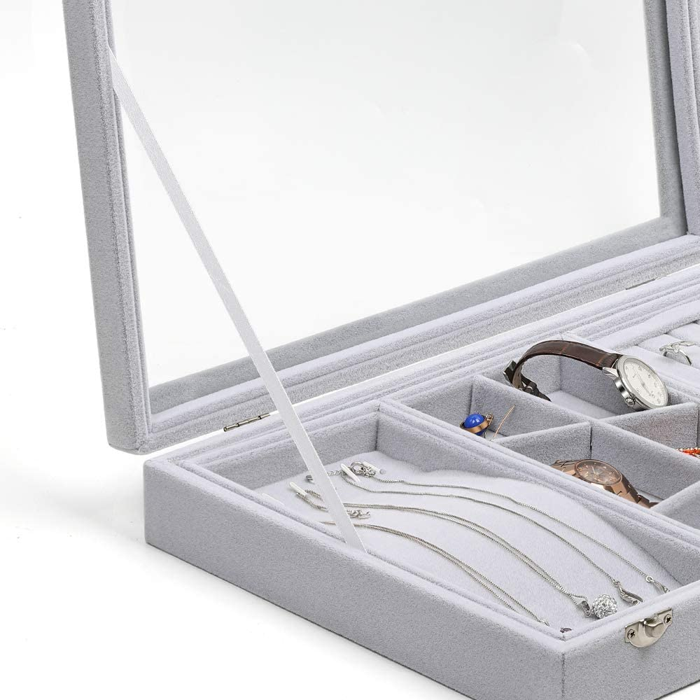 Medium-JT03 MILIJIA Jewelry Tray Stud and Necklace Velvet Case Organizer with Glass Lid for Ring