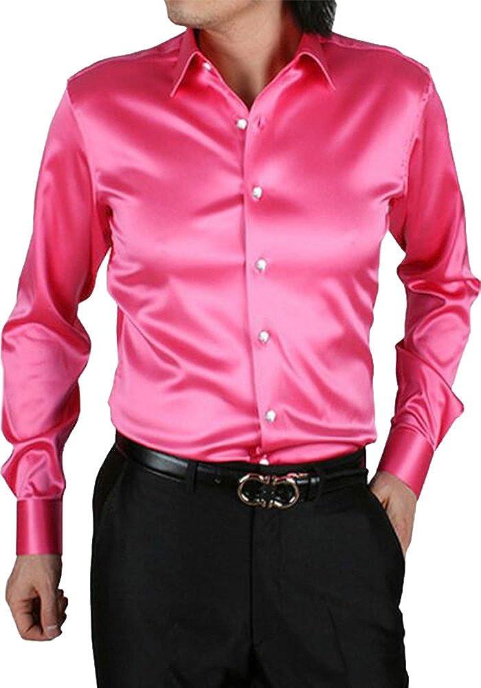 EUROUS Mens Fashion Shiny Regular-Fit Solid Color Dance Prom Silk Like Dress Shirt