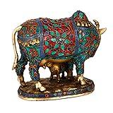 CraftVatika Beautiful Lucky Nandi Kamdhenu Cow & Calf Brass Sculpture- Religious KamDhenu Cow Statue