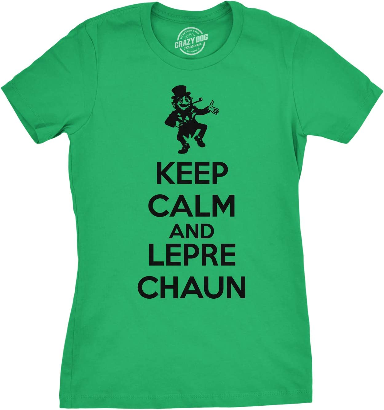 Womens Keep Calm And Leprechaun T Shirt Funny KCCO Drinking Tee