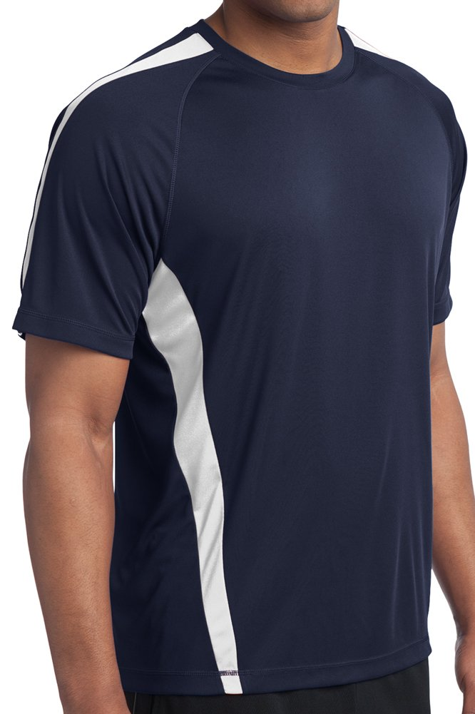 Yoga Clothing For You Tall Mens Sweat Control Performance Navy/White Shirt SAN-TST351-NVYWHT