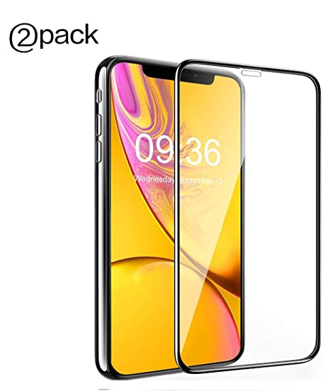 Screen Protector Compatible with iPhone XR, Tempered Glass Screen Protector with iPhone XR, Anti-Scratch, Anti-Fingerprint, Protective Cover, HD Transparent, 2 Packs