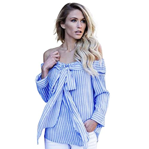 OverDose mujeres camiseta suelta blusa manga larga rayas blusa fuera-hombro