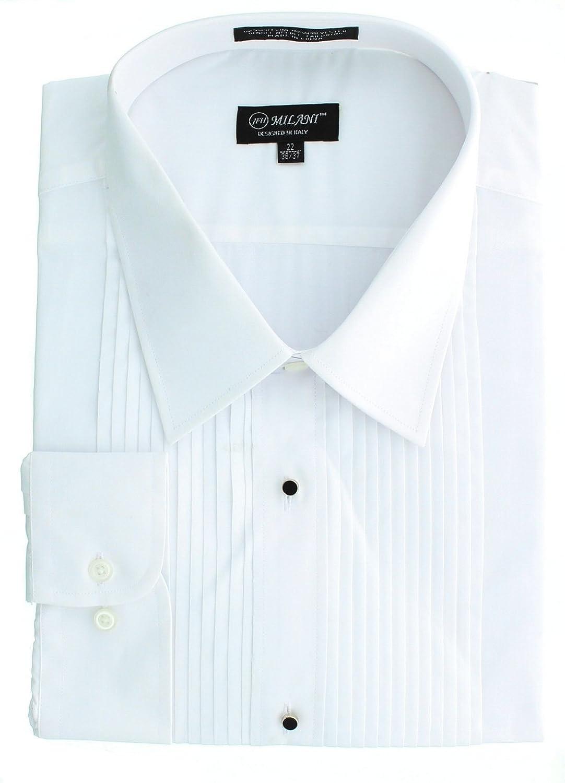 80e6fdd0ecbe34 Milani Men's Pleated White Tuxedo Shirt with Standard Barrel Cuff Laydown  Collar at Amazon Men's Clothing store: