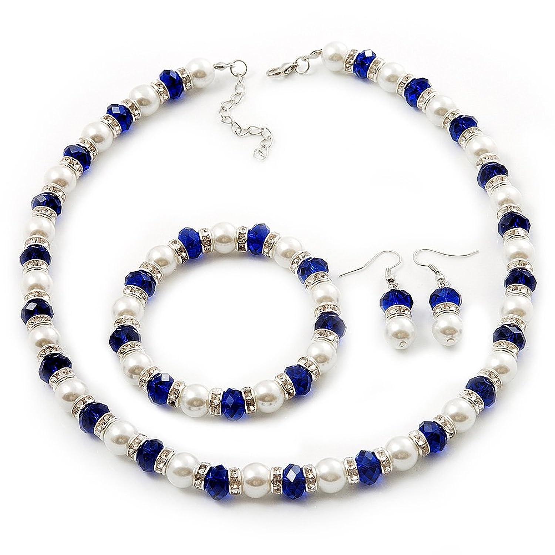 Amazon.com: White & Royal Blue Imitation Pearl Bead With Diamante ...