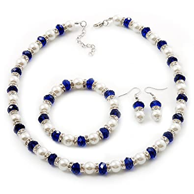 Avalaya White Imitation Pearl Bead With Diamante Ring Necklace, Bracelet & Earrings Set (Silver Tone Metal)