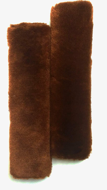 Fochutech 2Pcs Car Soft Plush Seat Belt Shoulder Pad Strap Cover Adjuster Protector Comfortable Driving (Wine red)