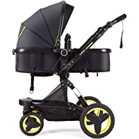 Cynebaby Stroller Bassinet Reversible Pram Stroller for Girl n Boy add Net Cover (Warm Yellow)