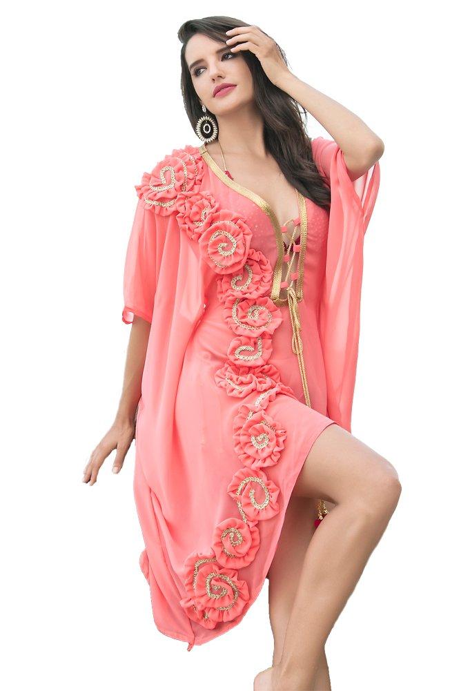 Kolkozy Fashion Women's Georgatte Embroidered Bikini with Cover ups Turquoise by Kolkozy Fashion