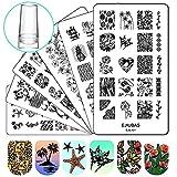 Ejiubas Nail Stamper Stamping Plates Nail Stamping Kit - 3pcs Double-sided Nail Stamp Plates & 1 pcs Clear Nail Polish Stamper Scraper EJB-X01&X02&X03