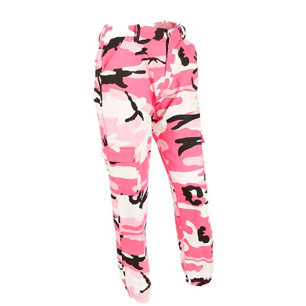 YJYDADA Pants,Women Sports Camo Cargo Pants Outdoor Casual Camouflage Trousers Jeans (Pink, S)