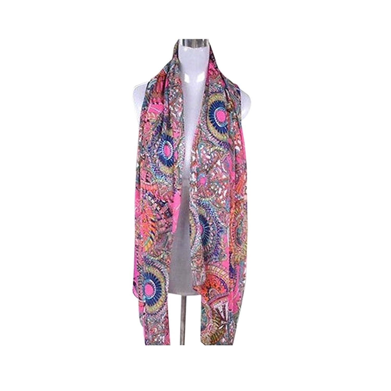 Pink Fashion Women's Girl Chiffon Print Silk Long Soft Neck Scarf Shawl Scarves Wraps