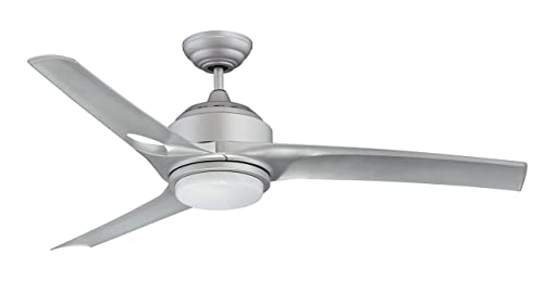 Kendal Lighting AC19052-PL Magnum 52-Inch 3-Blade 1 Light Ceiling Fan, Platinum Finish with Silver Blades and Opal White Glass