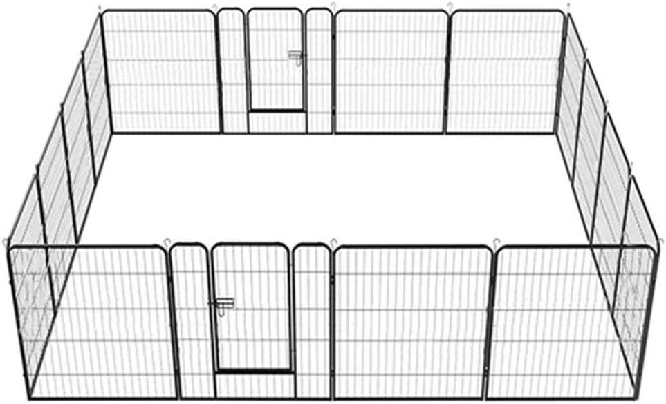 Yaheetech 16 Piezas Vallas para Perros Parque Jaula para Mascota Plegable Parque Metálica 80 X 80 cm