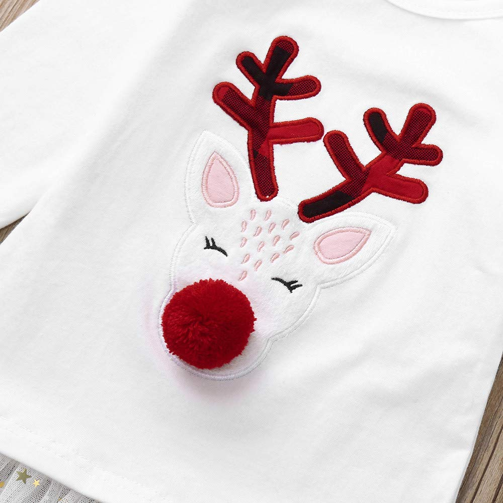 KONFA Teen Toddler Baby Girls Christmas Clothes,Cartoon Pompom Deer T-Shirt Blouse Tops+Plaid Pants Outfits Sets
