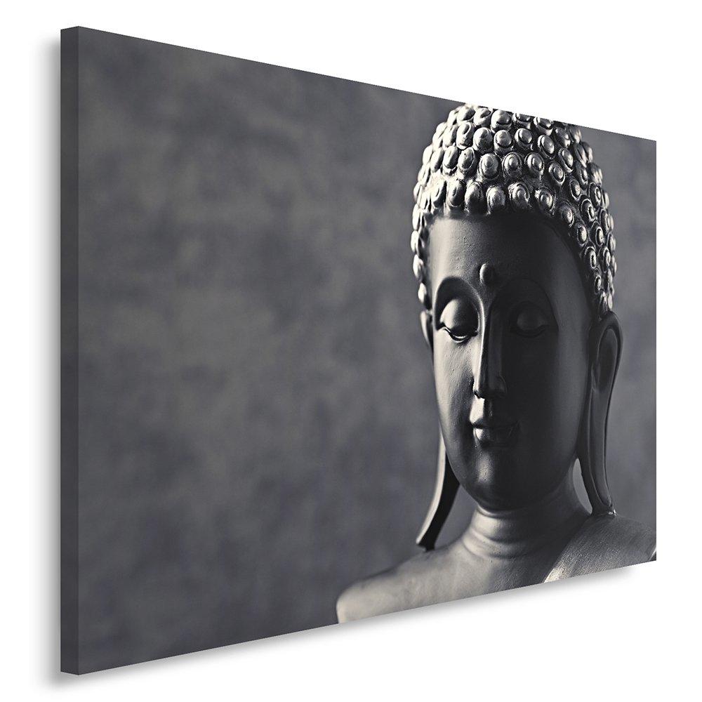 Feeby, Leinwandbild, Bilder, Wand Bild, Wandbilder, Kunstdruck 70x100cm, BUDDHA, SCHWARZ UND WEIß