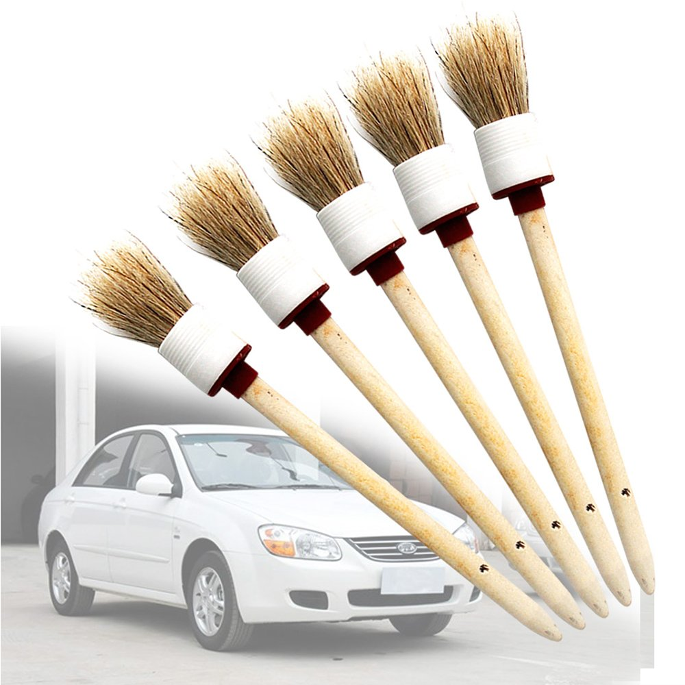 Seats Trim Dash 5Pcs Auto Detailing Brush Set Soft Car Cleaner Brush for Car Cleaning Vents Interior Dashboard Rims,Wheels,Air-Conditioning Engine Wash