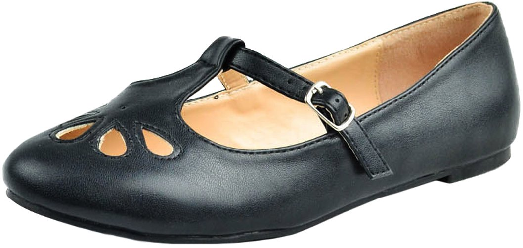 Cambridge Select Women's T-Strap Closed Round Toe Teardrop Cut Out Flat B078GYY23K 6 B(M) US|Black Pu