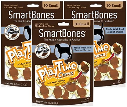 (3 Pack) SmartBones Play Time Small Peanut Butter Treat Chews for Dogs - 10 Bones per Pack