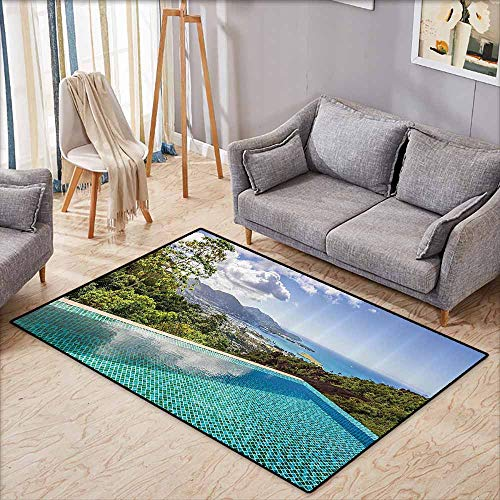 (Non-Slip Carpet House Decor Collection Panoramic View of Islands Seychelles from Crystal Clean Pool Relaxation Image Print Blue Green Machine wash/Non-Slip W5'2 xL3'2)