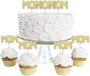 Gold Glitter Mom - No-Mess Real Gold Glitter Dessert Cupcake Toppers - Mother's Day Party Clear Treat Picks - Set of 24