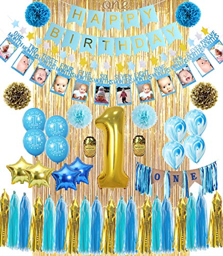1st Birthday Boy Decorations | ALL-IN-1 MEGA Bundle! | With High Chair Banner for Baby | Discount Direct Kids Party Decorations - Blue & Gold Boys Set | #1 Birthday Balloon, Marble & Star Shaped Balloons, O'N'E Cake Topper, Pom Poms, Happy Birthday Banner & Much MORE! High Quality| ()