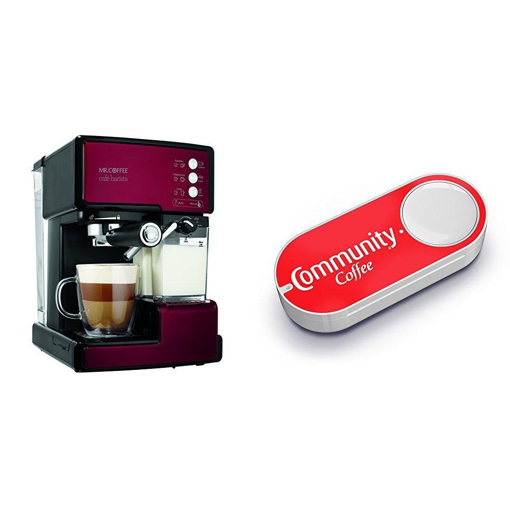 Mr. Coffee BVMC-ECMP1106 Cafe Barista Espresso Maker Machine,  Red & Community Coffee Dash Button