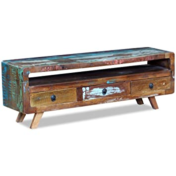 Amazon.com: Daonanba Vintage-style TV Cabinet with 3 Drawers Solid ...