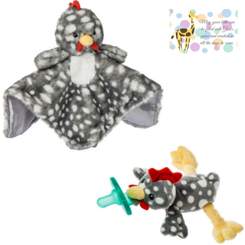 Chicken or Farm Nursery Character Blanket and Matching Wubbanub with Mini Gift Card-Bundle of 3 Items (Chicken) by Bigdream